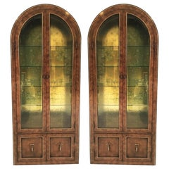 Pair Mastercraft Burled Wood and Brass Vitrine Cabinets by William Doezema