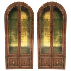 Pair Mastercraft Burled Wood and Brass Vitrine Cabinets by William Doezema