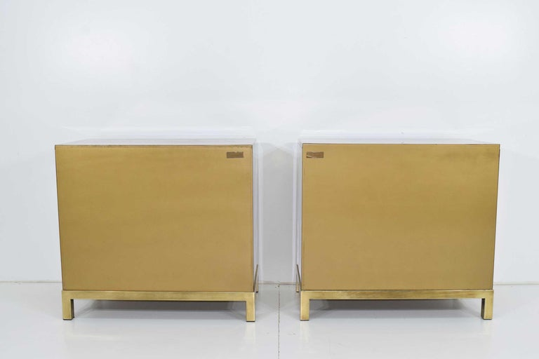 Pair Mastercraft Commode Nightstands Chests Brass Veneer Depicting Four Dynastys For Sale 5