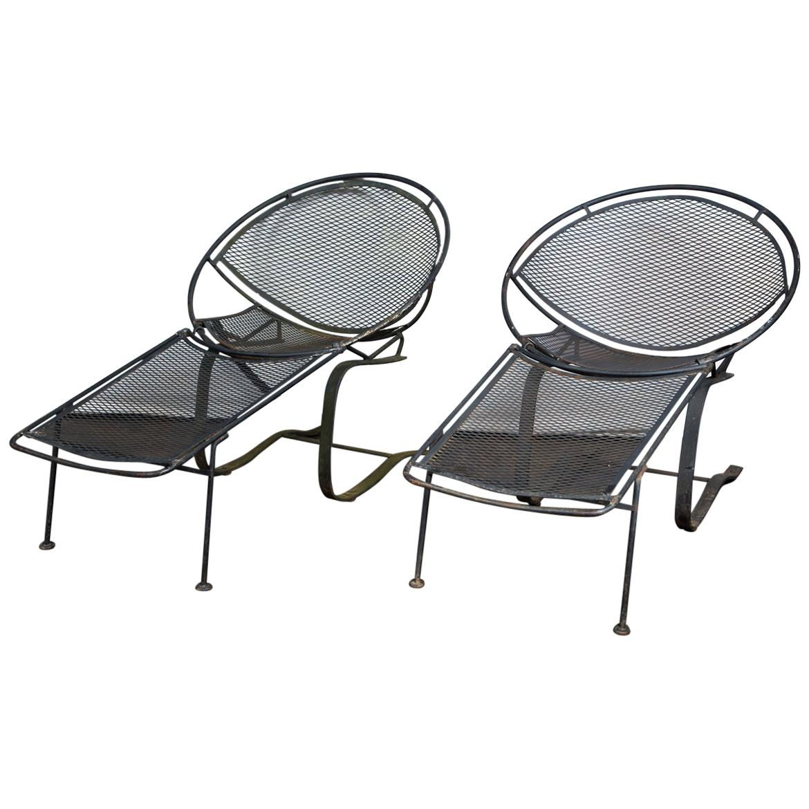 Pair of Maurizio Tempestini for Salterini Chaise Lounges, Wrought Iron