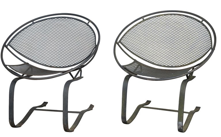 Pair of Maurizio Tempestini for Salterini Circular Saucer Chairs, Wrought Iron For Sale 5