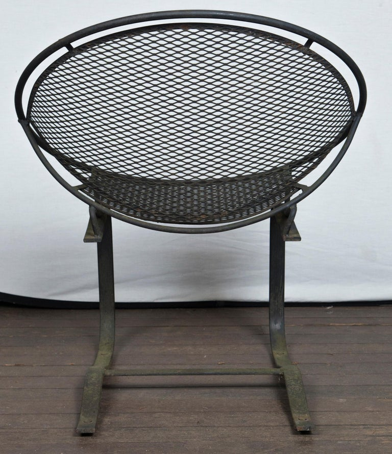 Pair of Maurizio Tempestini for Salterini Circular Saucer Chairs, Wrought Iron For Sale 4
