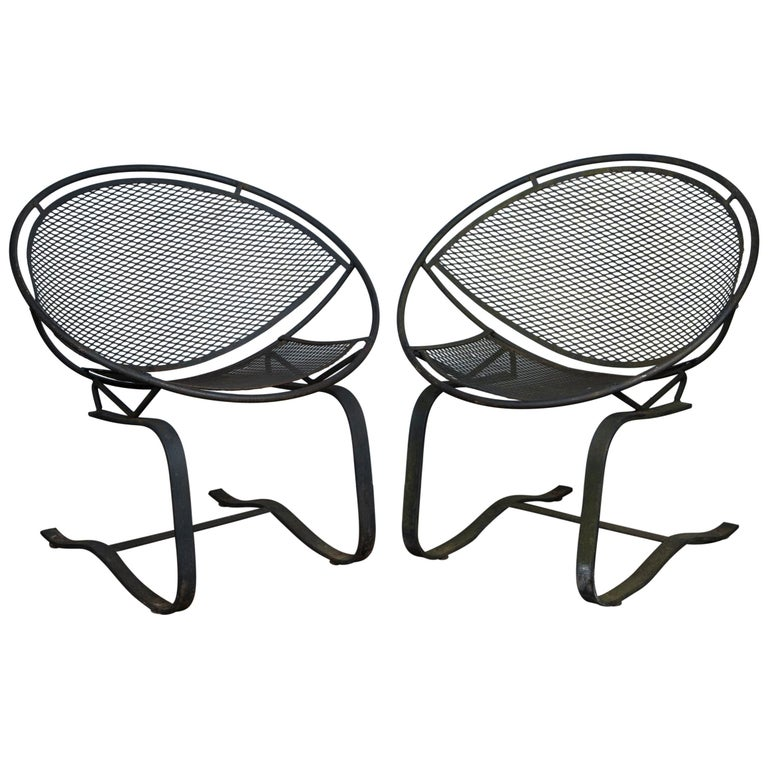 Pair of Maurizio Tempestini for Salterini Circular Saucer Chairs, Wrought Iron For Sale