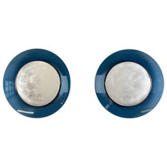 Pair of Max Ingrand Mirror for Fontana Arte Model 1699 with Blue Glass Surround