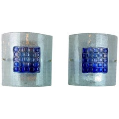 Pair Mazzega Murano Blue Mosaic Tile White Speckled Frosted Glass Square Sconces