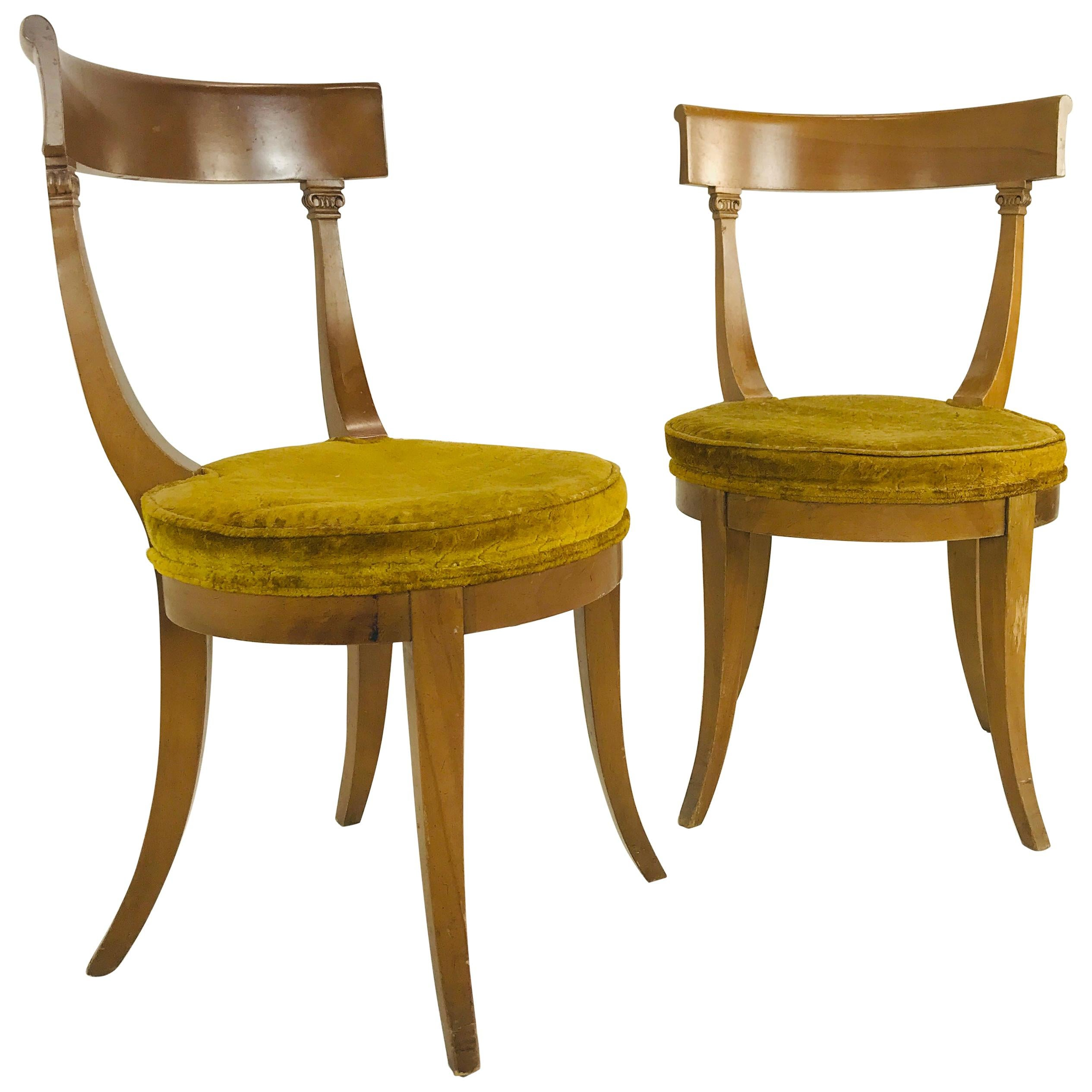 Pair of MCM Klismos Side Chairs