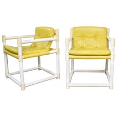 MCM Outdoor PVC Side Chairs Yellow Vinyl Upholstery, Decorion Fun Furnish, Pair