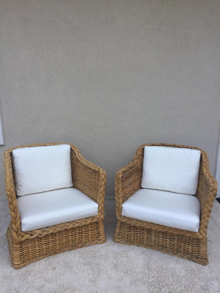 Excellent Pair Of Mcquire Rattan Wicker Safari Style Club Chairs Andrewgaddart Wooden Chair Designs For Living Room Andrewgaddartcom