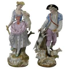 Pair of Meissen porcelain Shepherds, circa 1870