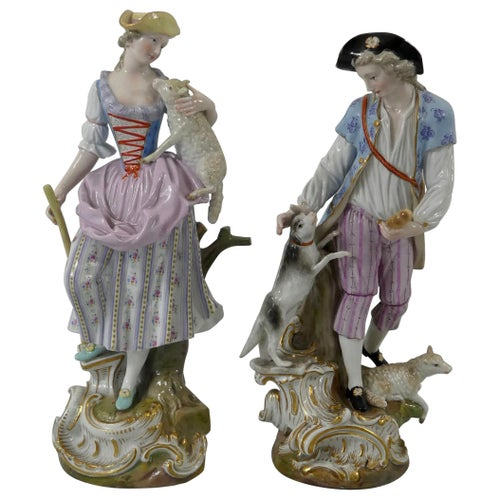 Pair of Meissen porcelain Shepherds, circa 1870