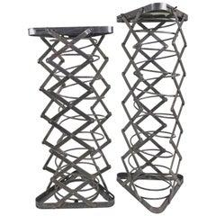 Pair Metal Spring Pedestal Adjustable