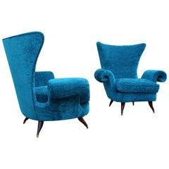 Pair Mid-Century Italian Armchairs Blue Velvet Melchiorre Bega Feet Wood Brass
