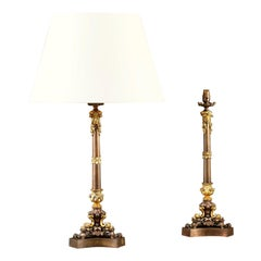 Pair Mid 19th Century Bronze Tripod Lamps Attributed to Messenger of Birmingham