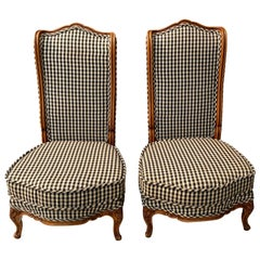 Pair of Mid-20th Century Carved Walnut and Upholstered High Back Chairs