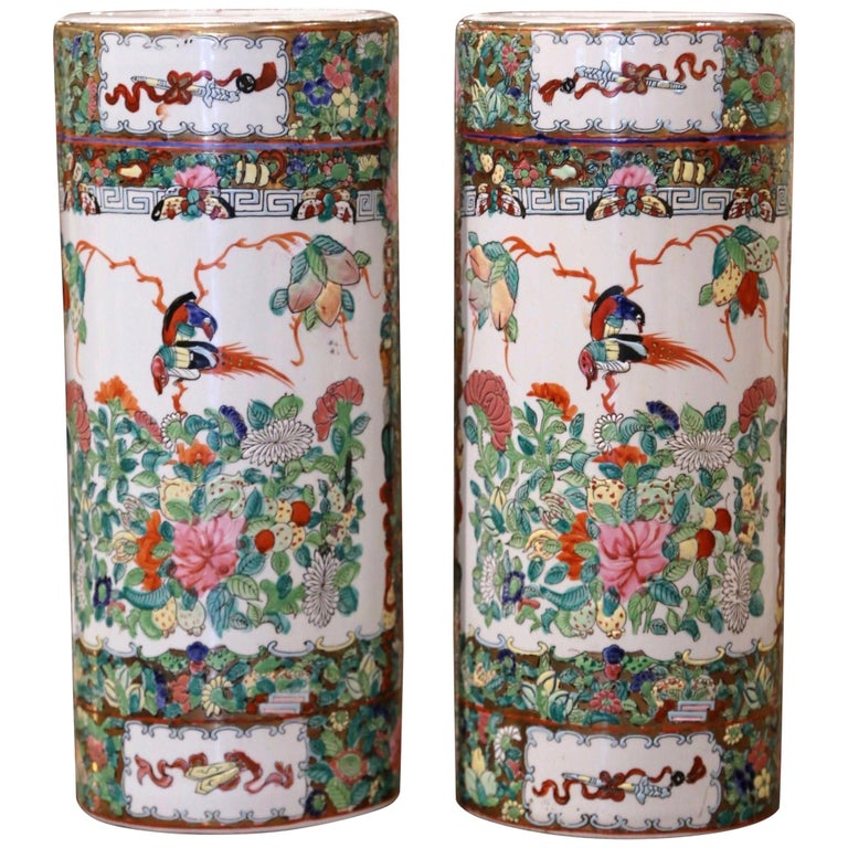 Pair Mid-20th Century Chinese Painted & Gilt Rose Medallion Porcelain Hat Stands For Sale