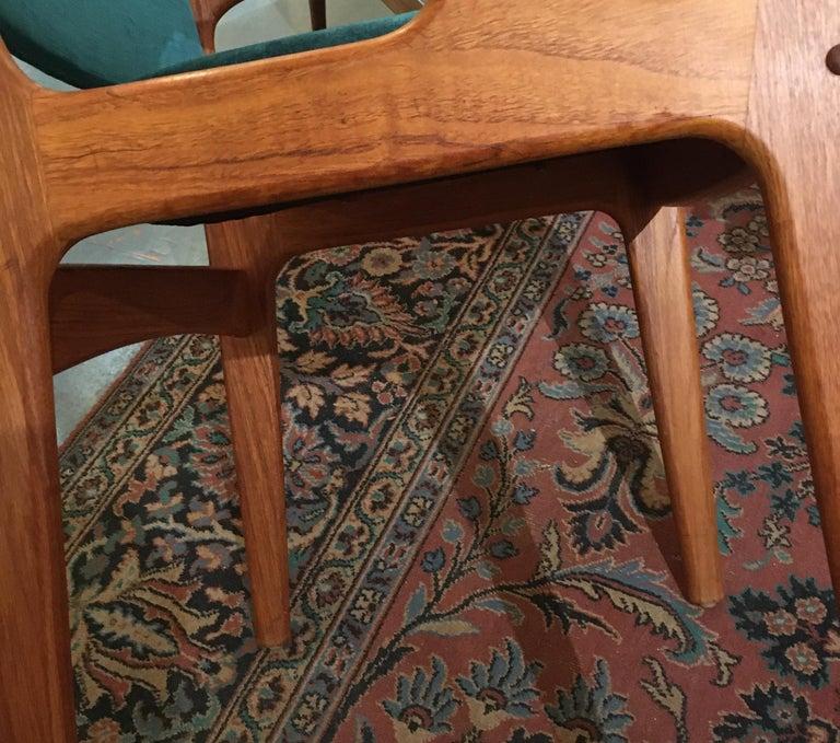 Pair of Midcentury Armchairs in Peacock Silk Velvet 6