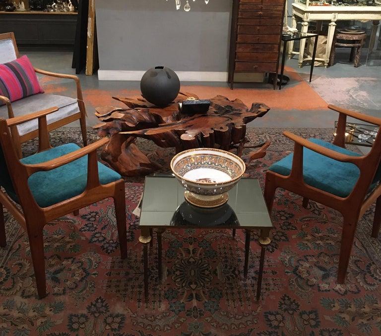Pair of Midcentury Armchairs in Peacock Silk Velvet 7
