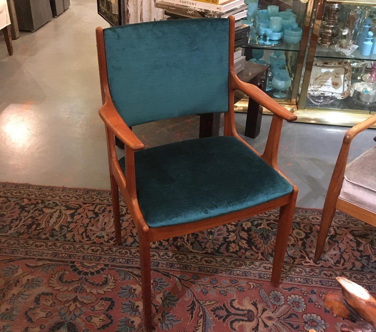 Beautiful pair of wood Scandinavian mid-20th century armchairs freshly upholstered in lux silk velvet. Perfect side chairs for living room, bedroom or around a dining table.