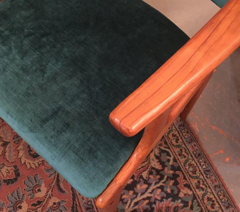 Pair of Midcentury Armchairs in Peacock Silk Velvet 1