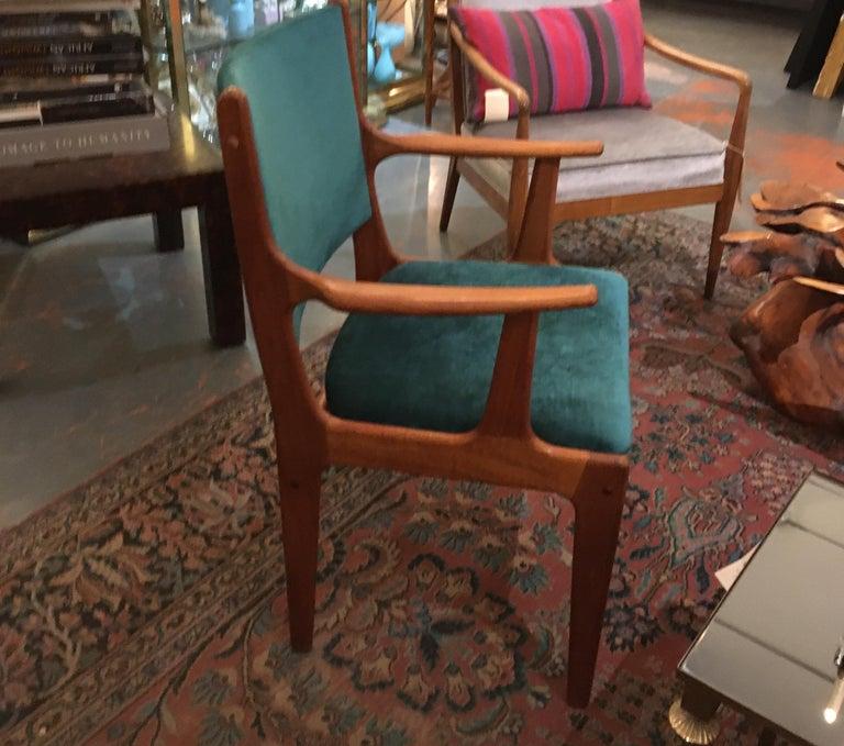Pair of Midcentury Armchairs in Peacock Silk Velvet 2