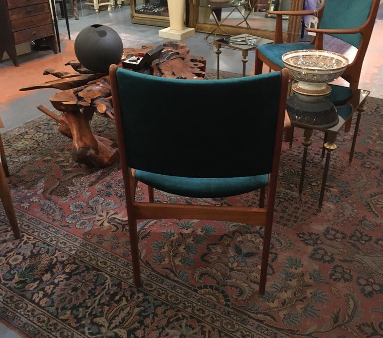 Pair of Midcentury Armchairs in Peacock Silk Velvet 3