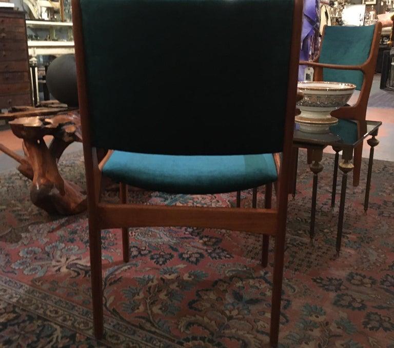 Pair of Midcentury Armchairs in Peacock Silk Velvet 4