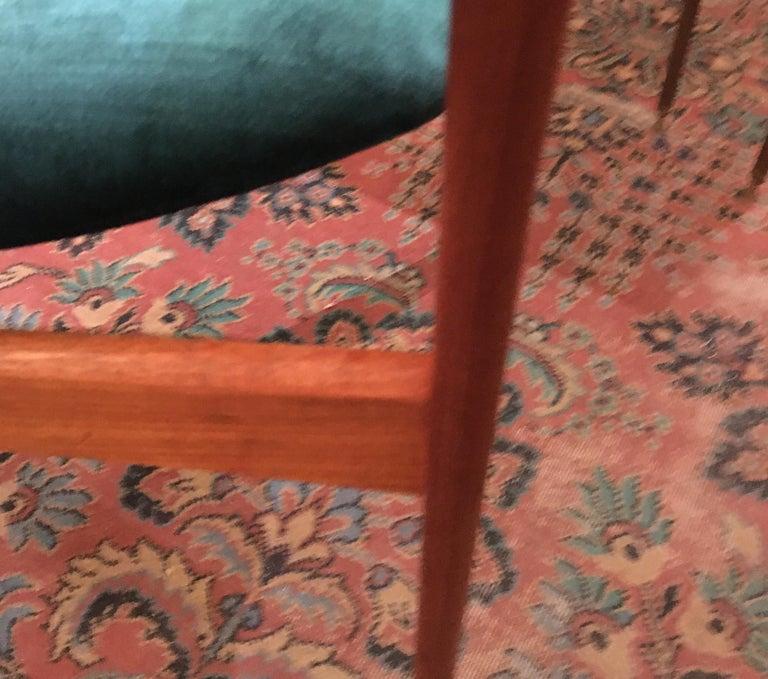 Pair of Midcentury Armchairs in Peacock Silk Velvet 5