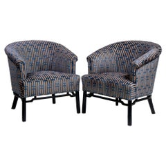 Pair of Midcentury Baker Club Chairs with New Upholstery