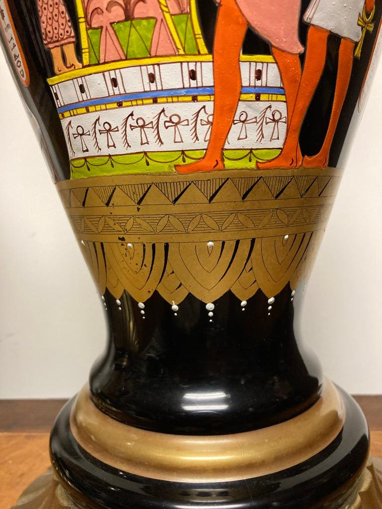 Pair Mid Century Black Glass Lamps with Egyptian Decoration For Sale 8