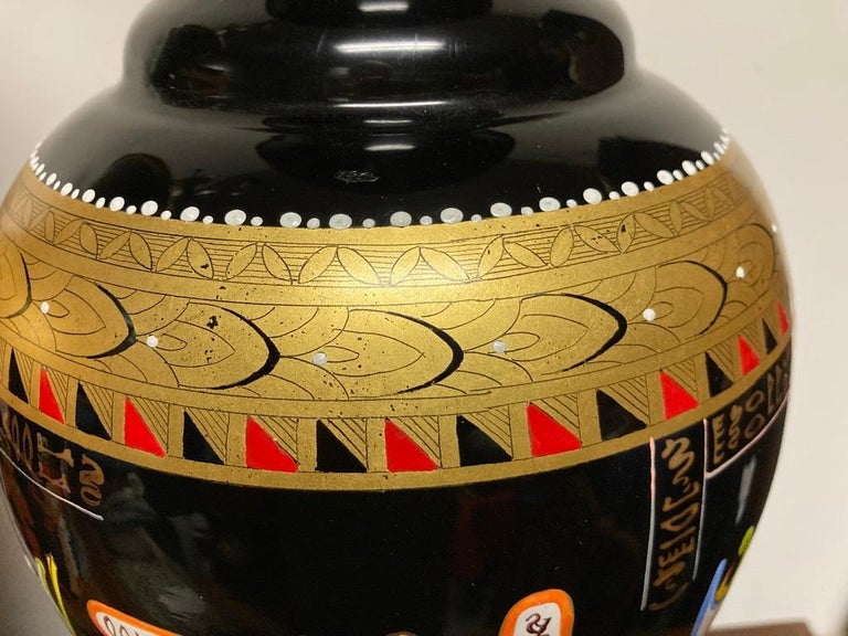Pair Mid Century Black Glass Lamps with Egyptian Decoration For Sale 10