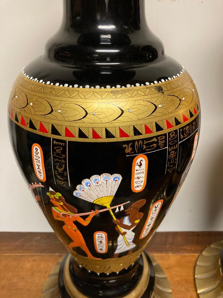 Egyptian Revival Pair Mid Century Black Glass Lamps with Egyptian Decoration For Sale