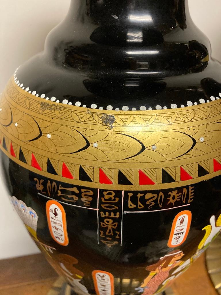 20th Century Pair Mid Century Black Glass Lamps with Egyptian Decoration For Sale