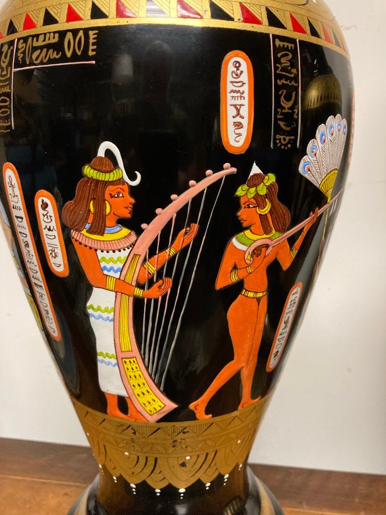 Art Glass Pair Mid Century Black Glass Lamps with Egyptian Decoration For Sale