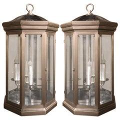 Pair of Midcentury Brushed Steel Lantern Chandeliers