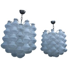 Pair Mid-Century Bubbles Chandelier Murano Art Design Venini Style Trasparent