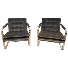Pair of Midcentury Chrome Lounge Chairs, circa 1970, New Scalamandré Upholstery