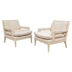 Pair Mid Century Faux Bamboo Club Chairs
