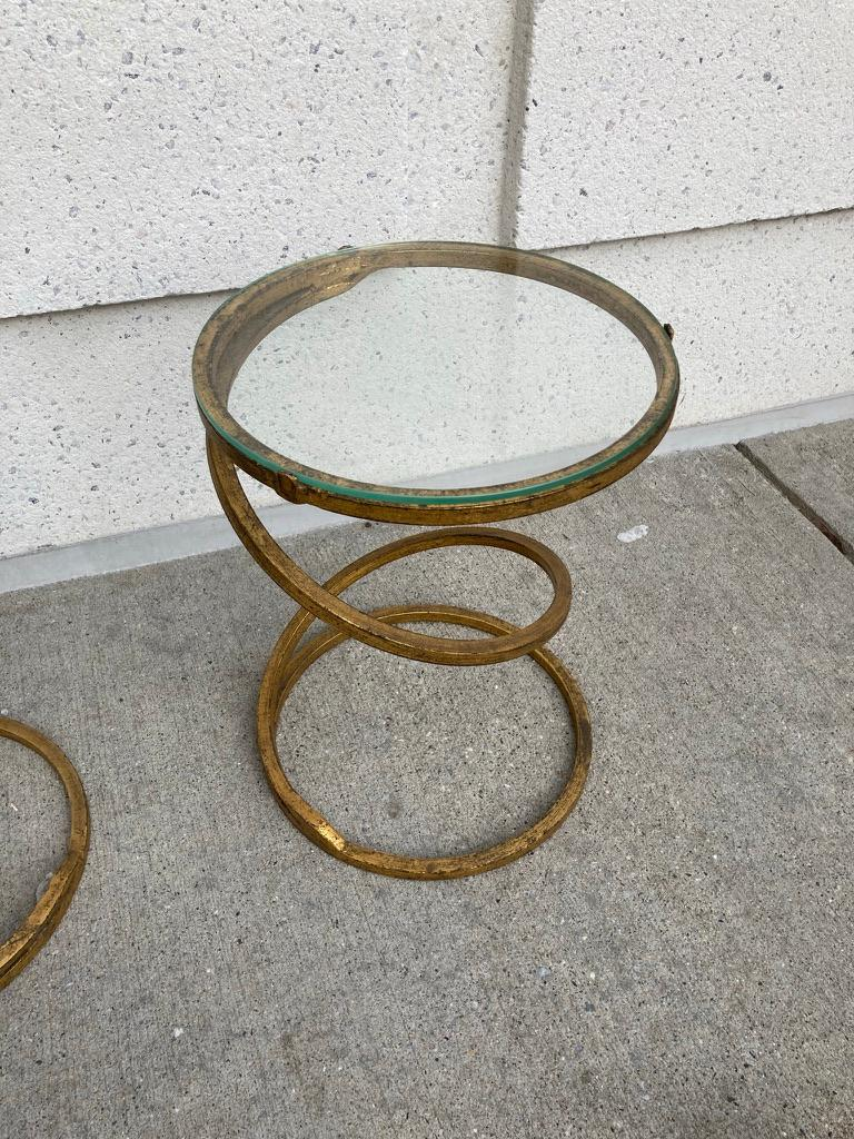 Pair of Midcentury Gilt Iron Glass Topped Spiral Side Tables 3