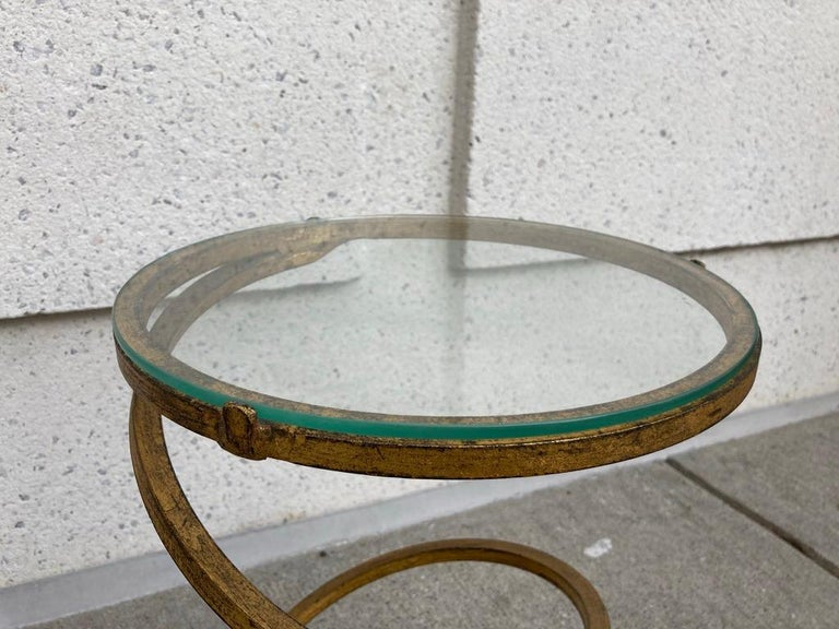 Pair of Midcentury Gilt Iron Glass Topped Spiral Side Tables 6