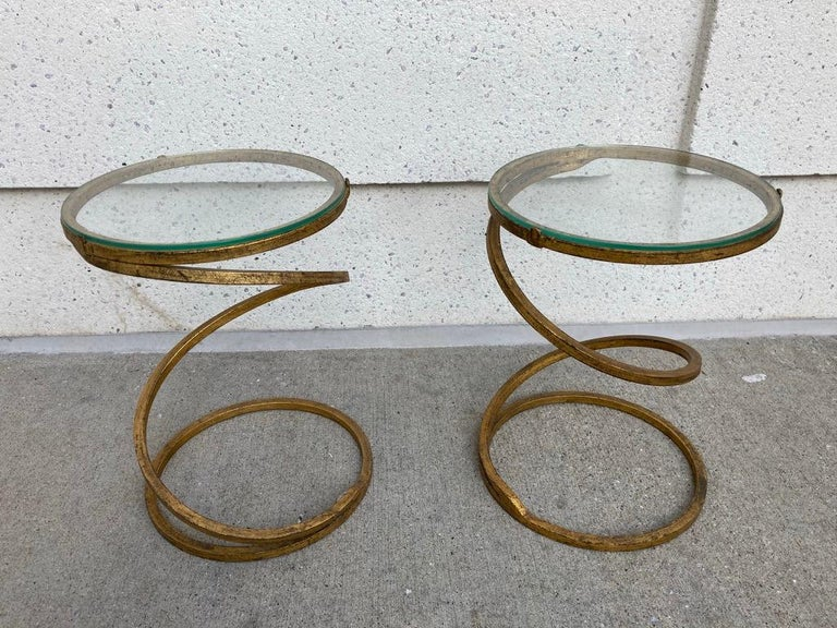 Pair of Midcentury Gilt Iron Glass Topped Spiral Side Tables 9