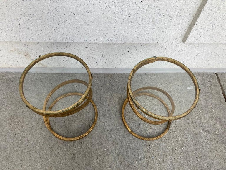 Pair of Midcentury Gilt Iron Glass Topped Spiral Side Tables 10