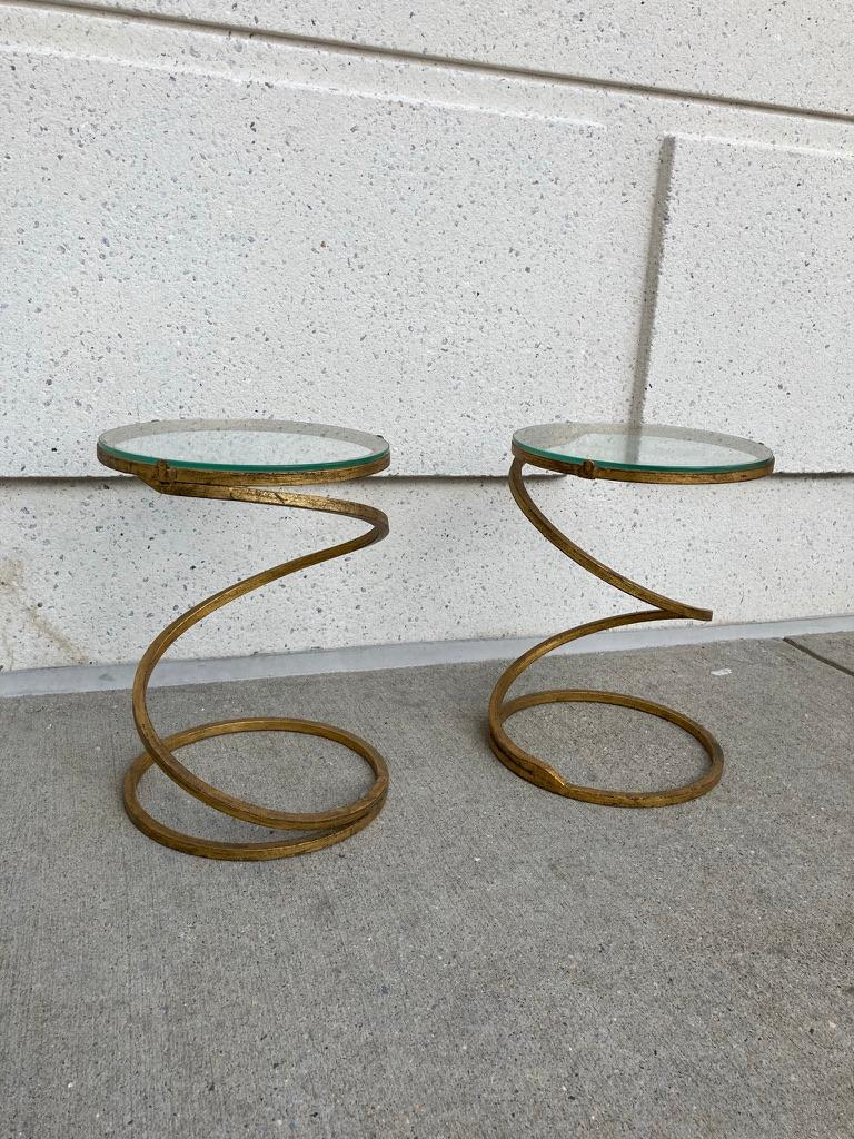 Pair of Midcentury Gilt Iron Glass Topped Spiral Side Tables 12