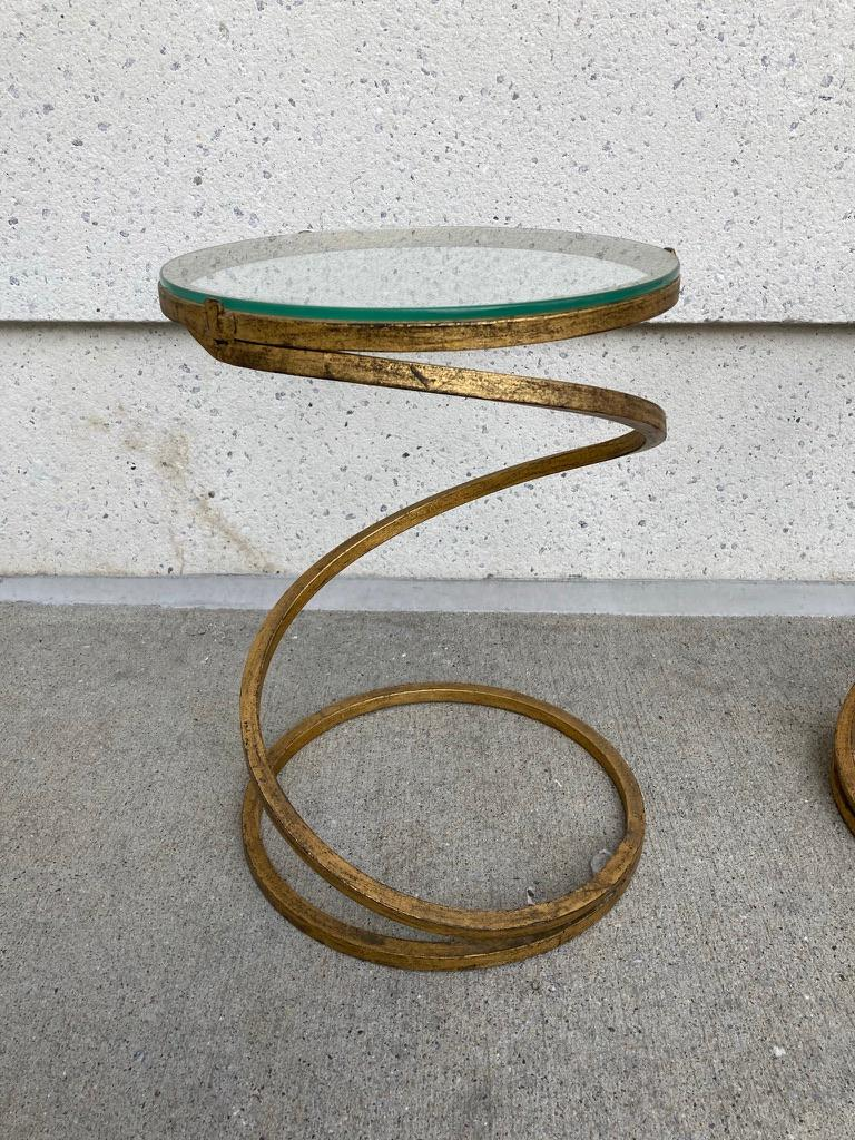 Mid-Century Modern Pair of Midcentury Gilt Iron Glass Topped Spiral Side Tables