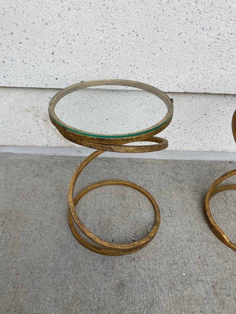 French Pair of Midcentury Gilt Iron Glass Topped Spiral Side Tables