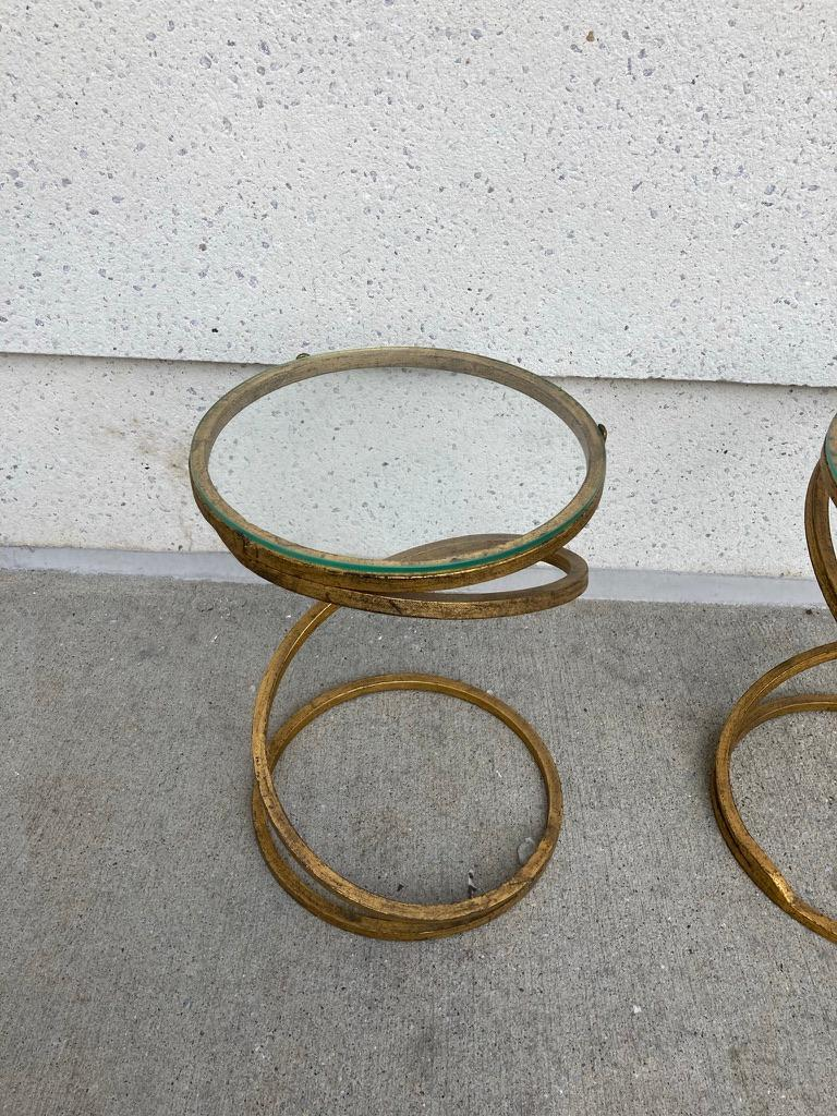 Pair of Midcentury Gilt Iron Glass Topped Spiral Side Tables In Good Condition In Stamford, CT