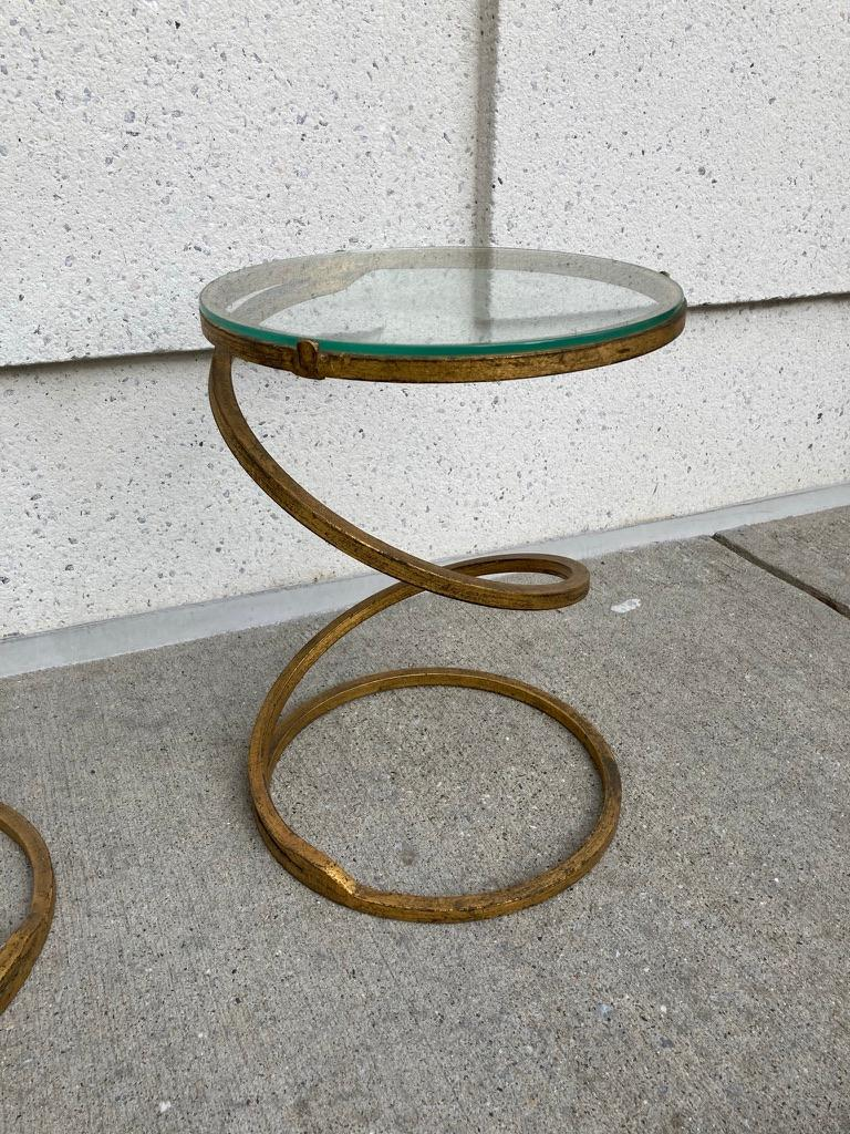 Wrought Iron Pair of Midcentury Gilt Iron Glass Topped Spiral Side Tables