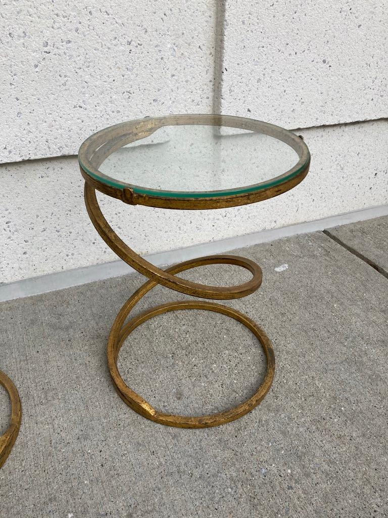 Pair of Midcentury Gilt Iron Glass Topped Spiral Side Tables 1