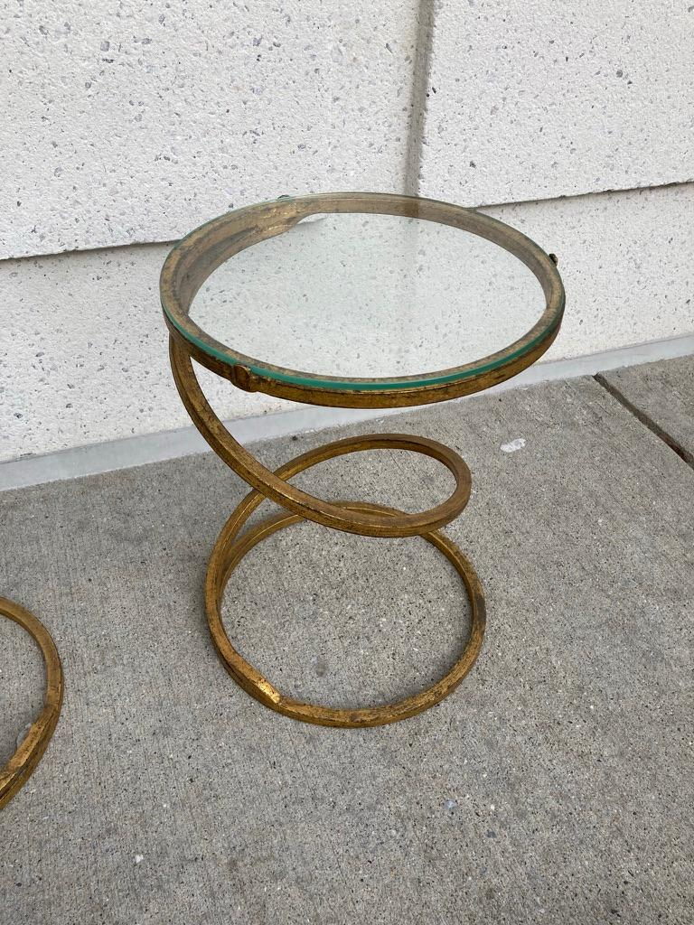 Pair of Midcentury Gilt Iron Glass Topped Spiral Side Tables 2
