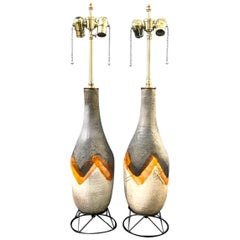 Pair of Midcentury Glazed Terra Cotta Lamps on Wire Plinths