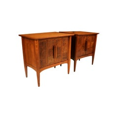 Pair of Midcentury Heritage Walnut Burl Tables Nightstands